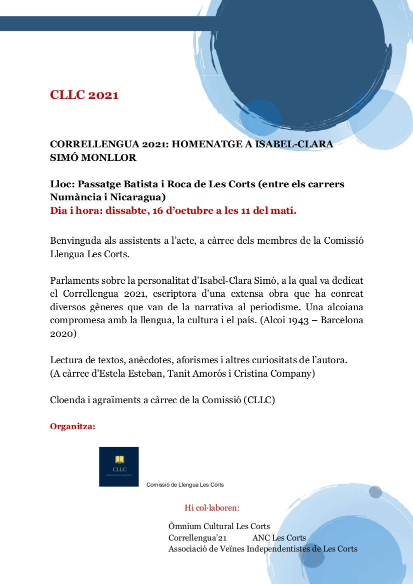 Correllengua 2021: Homenatge a Isabel-Clara Simó Monllor